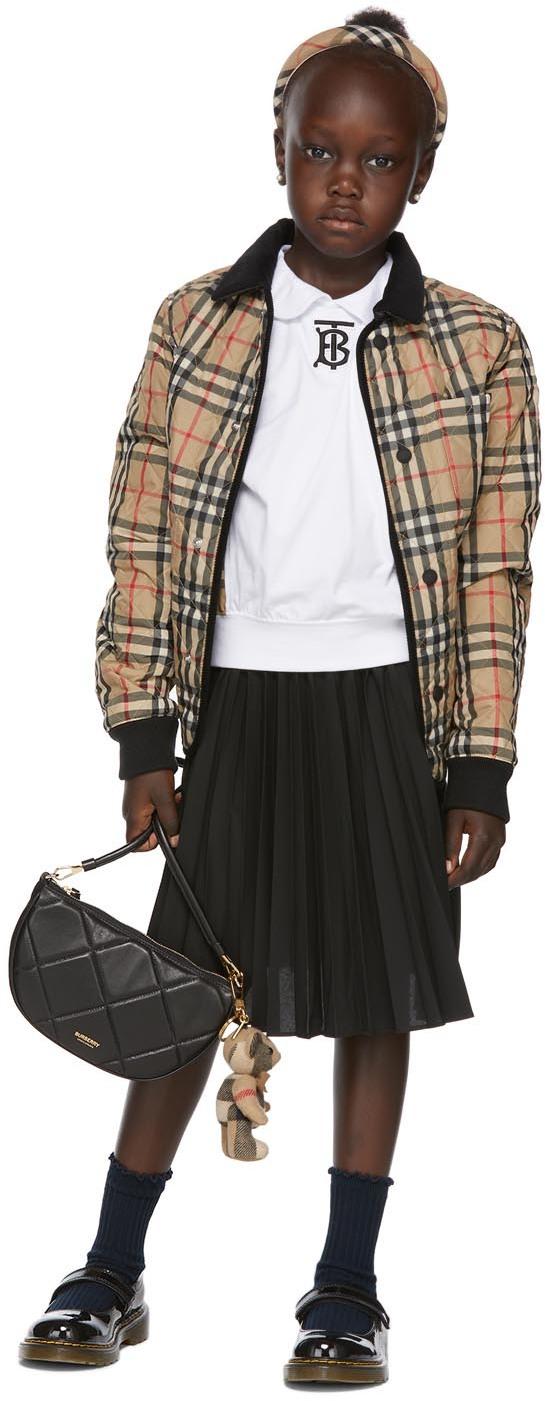 Burberry 白色 Monogram Motif Vintage Check 儿童短袖衬衫