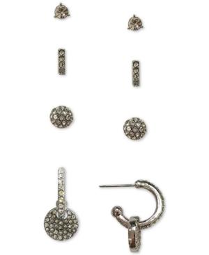 Silver-Tone 4-Pc. Set Crystal Stud & Hoop Earrings, Created for Macy's
