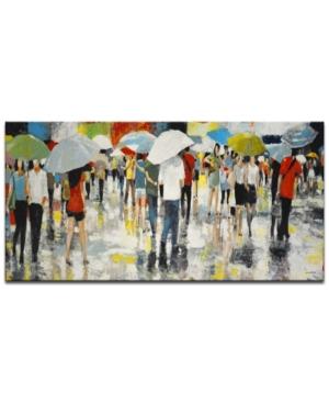 "Ready2HangArt, 'Crowded Umbrellas' Abstract Canvas Wall Art, 24x48"""