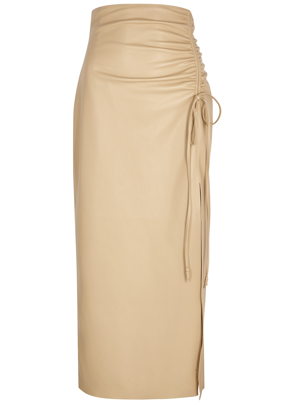 Malorie stone ruched faux leather midi skirt