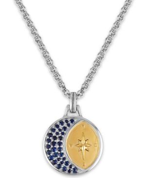 "Esquire Men's Jewelry Sapphire Crescent Moon & North Star 22"" Pendant Necklace (1-1/3 ct. t.w.), Cre"