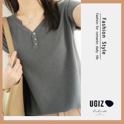 【UGIZ】修身氣質V領排扣素色造型上衣 (F)
