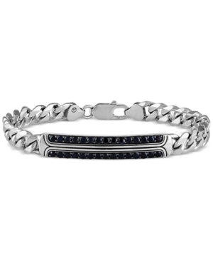 Esquire Men's Jewelry Black Sapphire Curb Link Bracelet (2-3/4 ct. t.w.) in Sterling Silver, Created