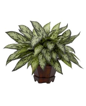 Nearly Natural Triple Silver Queen w/ Hexagon Vase Silk Plant
