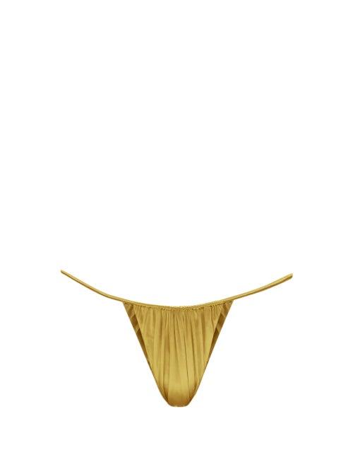 Isa Boulder - Leaf High-cut Ruched Bikini Briefs - Womens - Gold