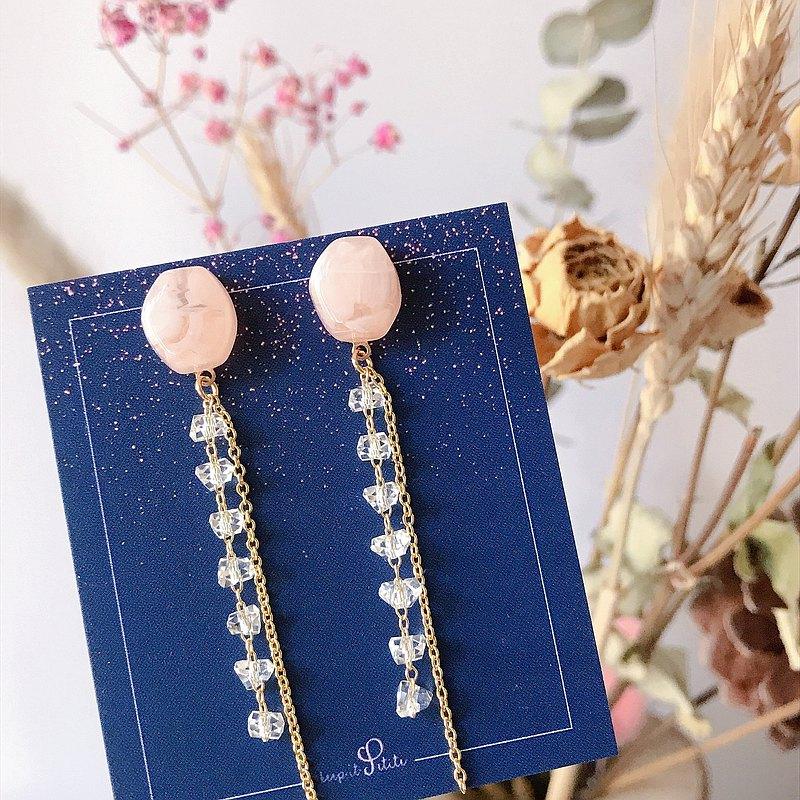 閃亮日系 粉紅滴膠 切角閃石 長鏈耳環 姊妹 閨蜜 生日禮物
