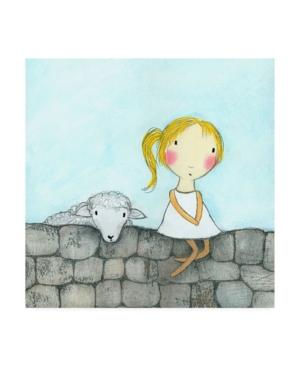 "Carla Sonheim Girl with Lamb Stone Wall Canvas Art - 15.5"" x 21"""