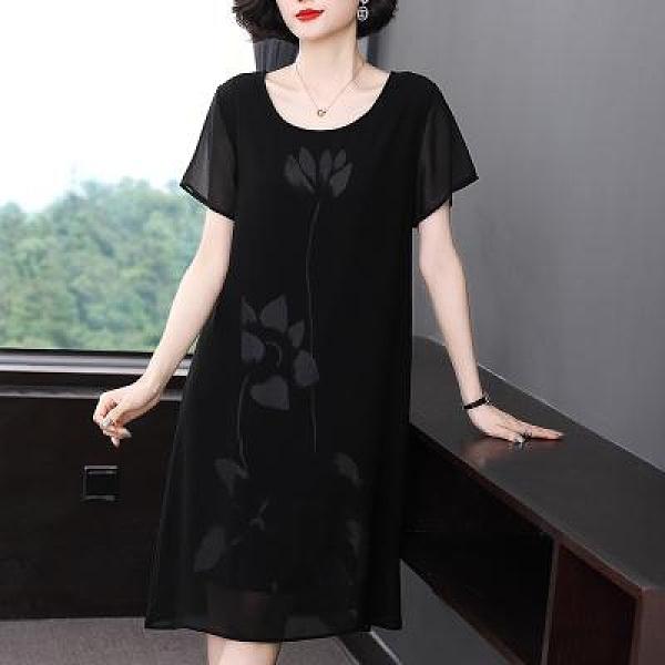 M-4XL胖妹妹大碼洋裝連身裙~中女媽媽裝款連身裙40歲50闊太太裙子薄NE335衣時尚