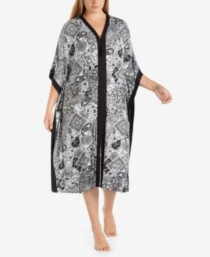 Ellen Tracy Plus Size Wide-Sleeve Printed Caftan
