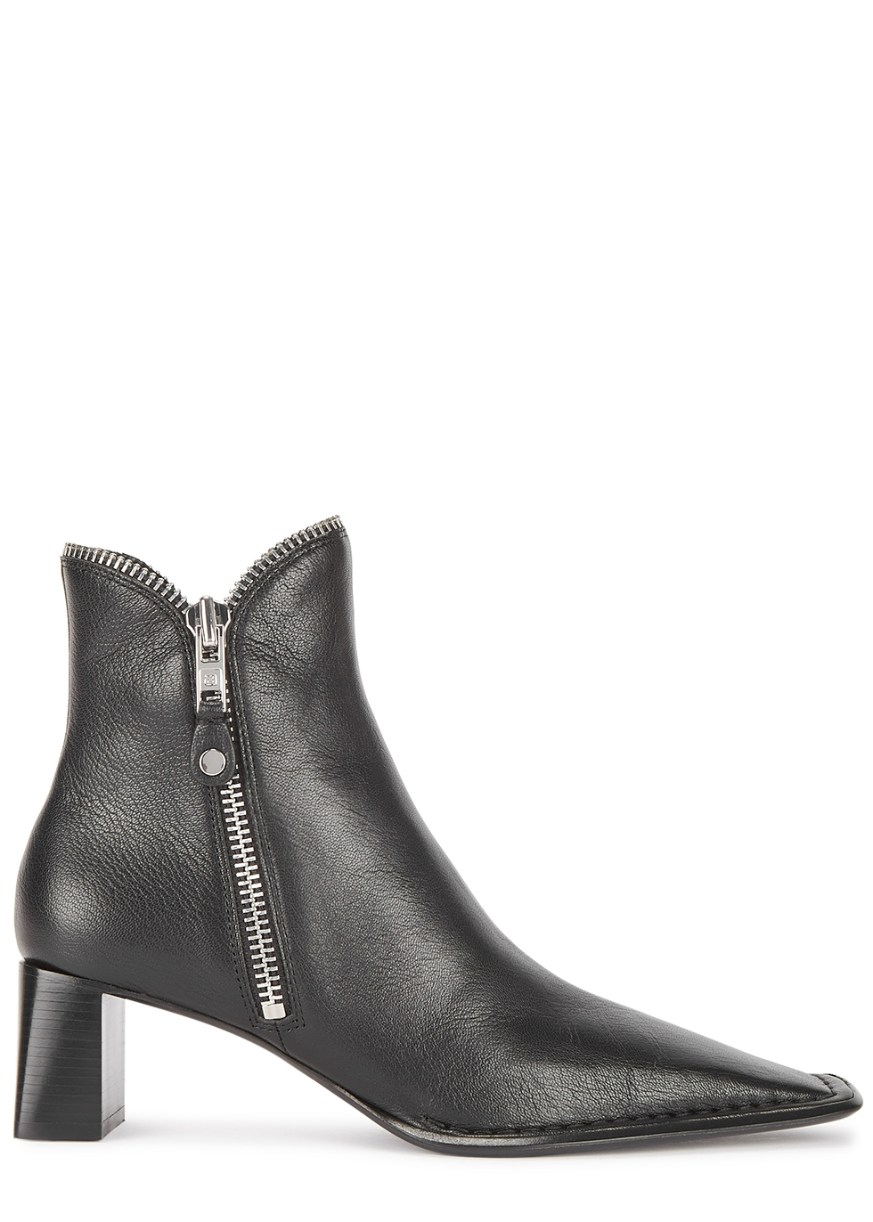 Lane 50 black leather ankle boots