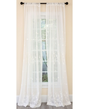 Manor Luxe Blossom Embroidered Sheer Rod Pocket Curtain Collection