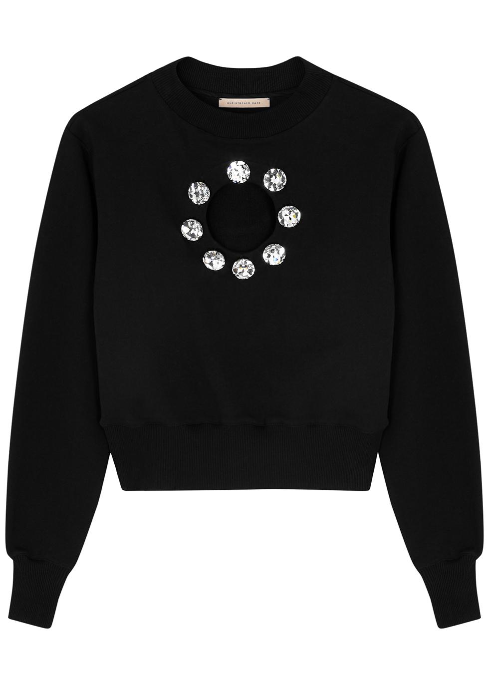 Black crystal-embellished cotton sweatshirt