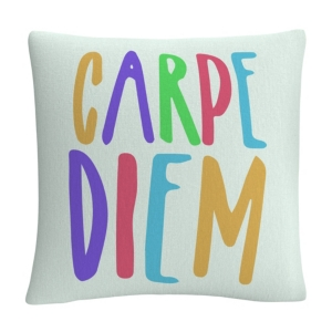 "Typographic Modern Carpe Diem Color 16x16"" Decorative Throw Pillow by Abc"