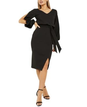 Quiz Split-Sleeve V-Back Midi Dress