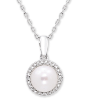 Cultured Freshwater Pearl (7 mm) Diamond Accent Necklace in Sterling Silver