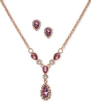"""Charter Club Silver-Tone Crystal Pendant Y-Necklace & Stud Earrings Boxed Set, 17"""" + 2"""" extender, Cr"""