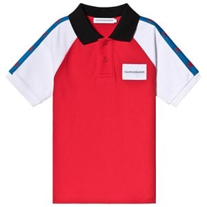 Calvin Klein Jeans Red Colorblock Polo Shirt 8 years