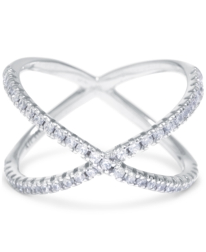 Giani Bernini Cubic Zirconia Crisscross Statement Ring in Sterling Silver, Created for Macy's