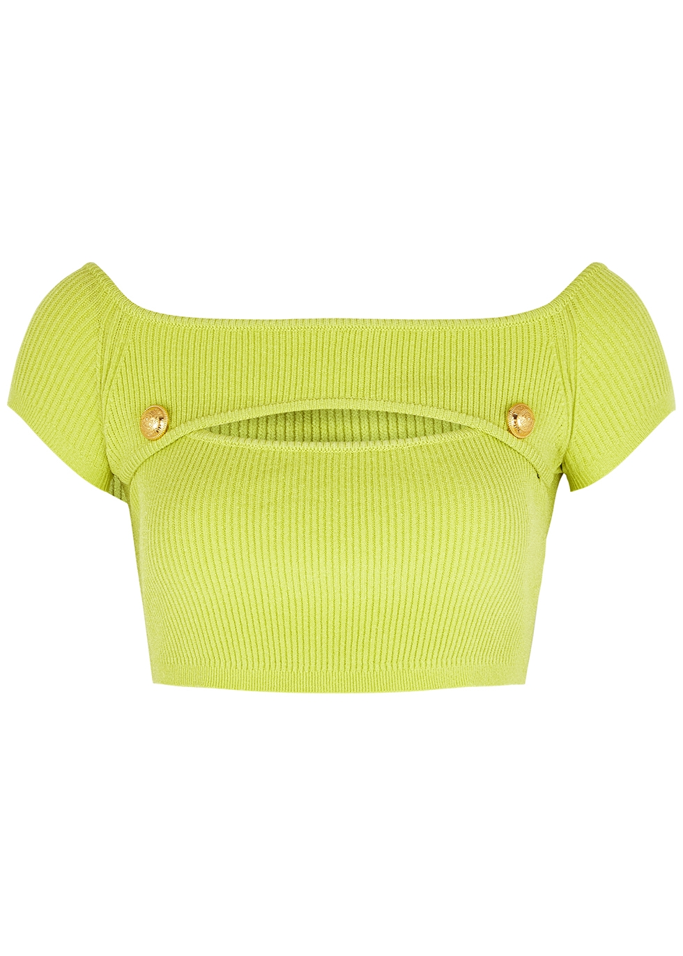 Lime cropped ribbed-knit top
