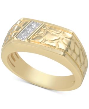 Men's Diamond Nugget-Inspired Ring (1/20 ct. t.w.) in 10k Gold