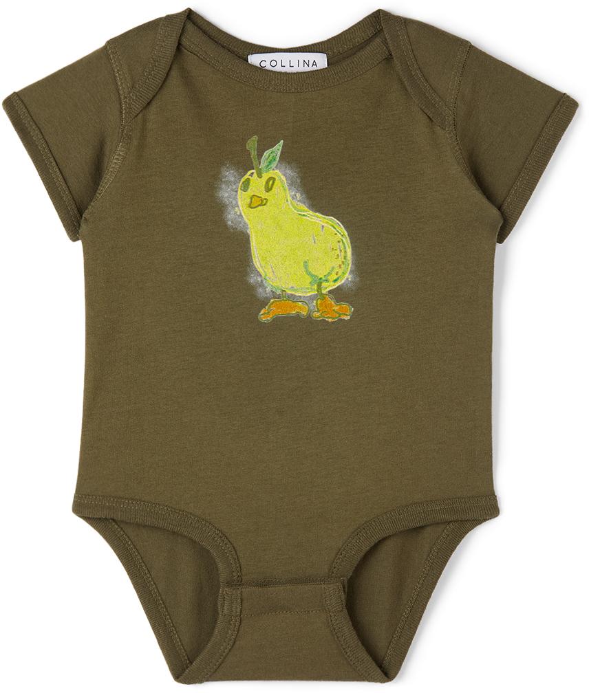 Collina Strada SSENSE 独家发售军绿色 Pear Printed 婴儿连体衣