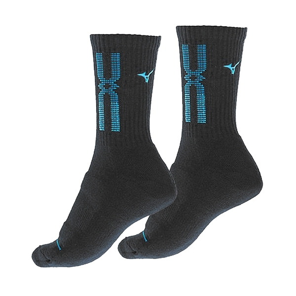 Mizuno Socks [32TX110392Q] 女 中筒襪 厚底 運動 排球 羽球 吸濕排汗 22-25cm 黑藍