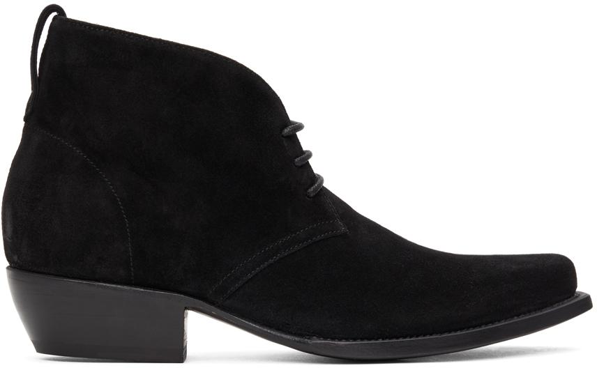 4SDESIGNS 黑色绒面革西部靴
