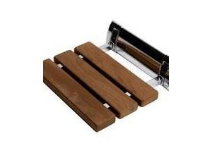"Alfi brand Polished Chrome 14"" Folding Teak Wood Shower Seat Bench Bedding"