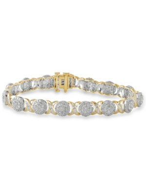 Diamond Cluster & Baguette Link Bracelet (5 ct. t.w.) in 10k Gold