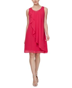 Sl Fashions Sleeveless Chiffon Jewel-Neck Sheath Dress