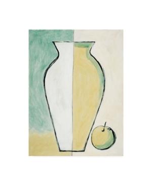 "Pablo Esteban White and Yellow Vase with Apple Canvas Art - 15.5"" x 21"""