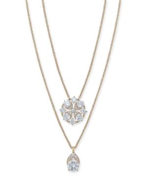 "Eliot Danori Cubic Zirconia Convertible Layered Pendant Necklace, 16"" + 1"" extender, Created for Mac"