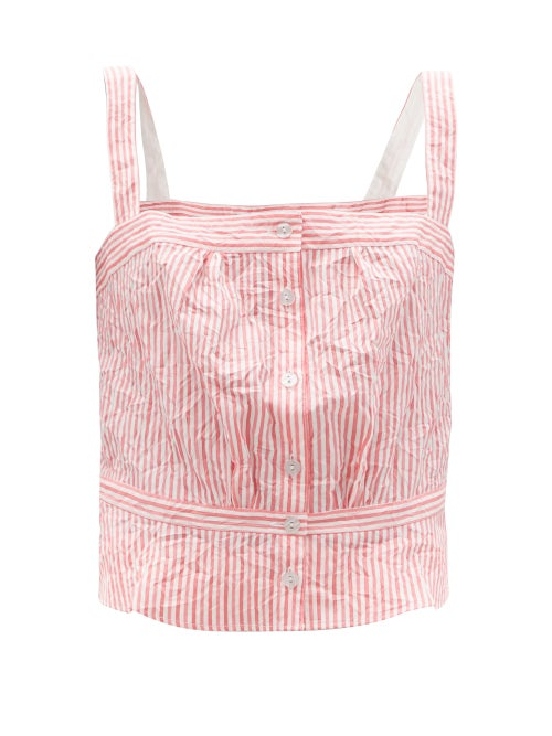 Thierry Colson - Rossa Crinkled Stripe Cotton-sateen Top - Womens - Pink Stripe
