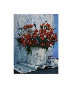 """Danka Weitzen Vaso Bianco con Daliette Amaranto Canvas Art - 15.5"""" x 21"""""""