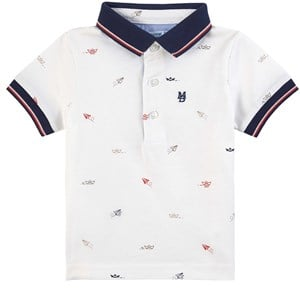 Mayoral Cream Printed Polo Shirt 12 months
