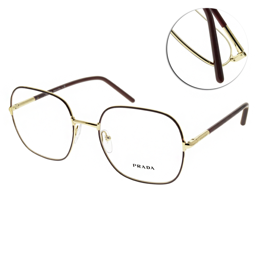 PRADA 光學眼鏡 大方框款(棕-金) #PR56WV 09B-1O1