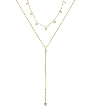 Ettika Simplistic Crystal Layered Lariat Necklace Set