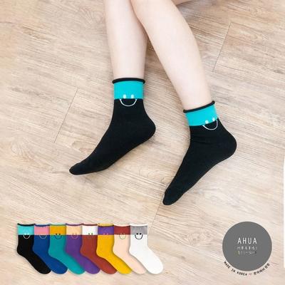 阿華有事嗎  韓國襪子 捲邊撞色拼接微笑中筒襪  韓妞必備 正韓百搭純棉襪