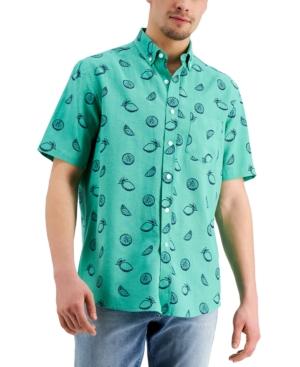 Club Room Men's Lemon Sketch Linen-Blend Short Sleeve Shirt, Created for Macy's