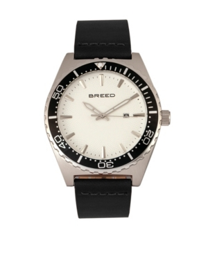 Breed Quartz Ranger Silver And White Genuine Leather Watches 45mm