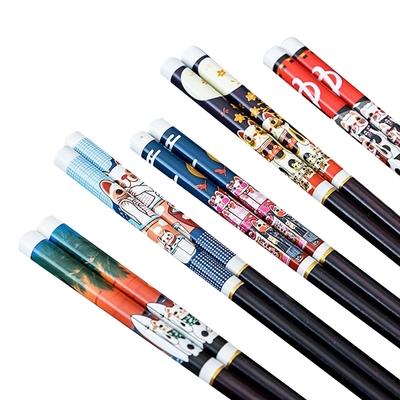 日式 招財貓 花色 家用 木筷 筷子 五入組