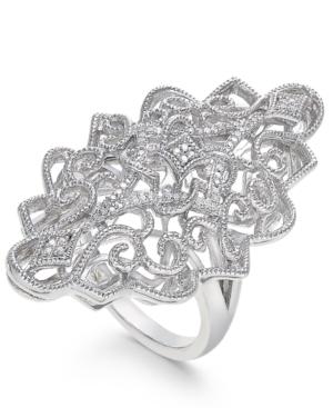 Diamond Filigree Statement Ring (1/10 ct. t.w.) in Sterling Silver