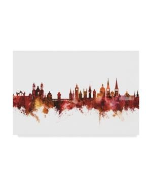 """Michael Tompsett Lucerne Switzerland Luzern Skyline Red Canvas Art - 20"""" x 25"""""""