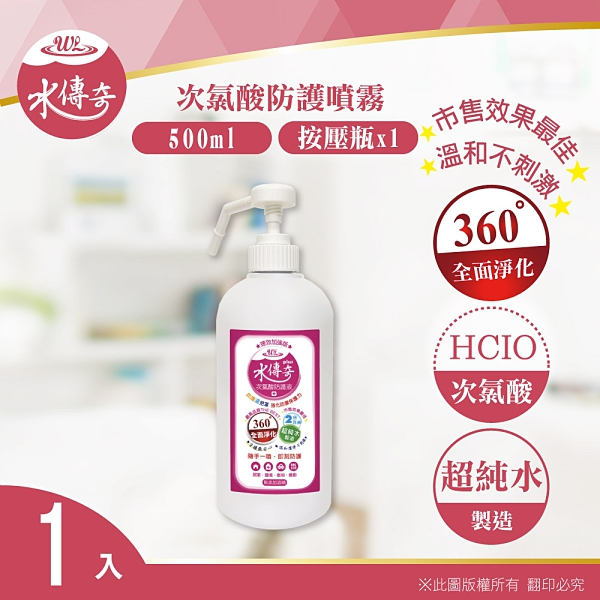 水蘋果居家淨水~ 水傳奇次氯酸防護噴霧 按壓瓶 500ML