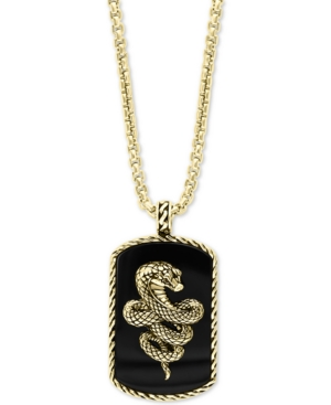 """Effy Men's Onyx Snake Dog Tag 22"""" Pendant Necklace in 18k Gold-Plated Sterling Silver"""