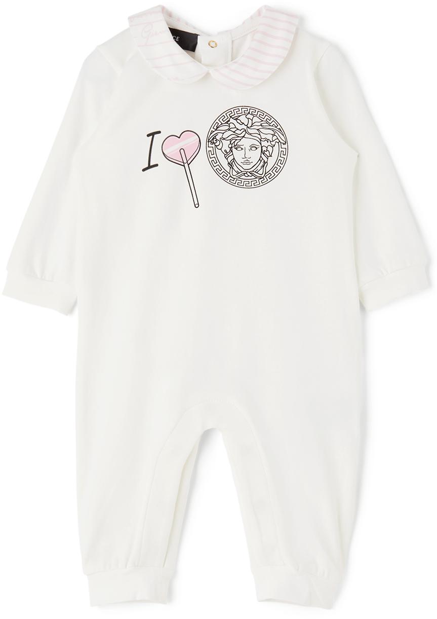 Versace 白色 I Heart Medusa 婴儿连体衣