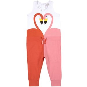 Stella McCartney Kids Stella McCartney Kids White Flamingo Print Jersey Jumpsuit 10 years
