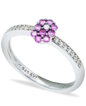 Pink Sapphire (1/3 ct. t.w.) Diamond (1/20 ct. t.w.) Stackable Ring in Sterling Silver