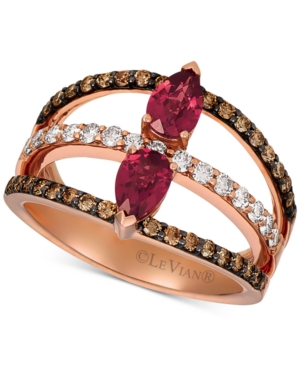 Le Vian Raspberry Rhodolite Garnet (7/8 ct. t.w.) & Diamond (5/8 ct. t.w.) Statement Ring in 14k Ros