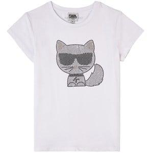 Karl Lagerfeld Kids Karl Lagerfeld Kids White Choupette Glitter T-Shirt 5 years